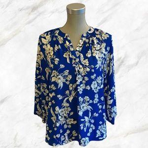 Ivanka Trump   White Floral Royal Blue Blouse